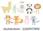 llama  lion  tiger  wolf  panda ... | Shutterstock .eps vector #1260947890