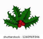 holly berry leaves christmas... | Shutterstock .eps vector #1260969346