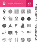 maps   navigation grey icons | Shutterstock .eps vector #1260975019