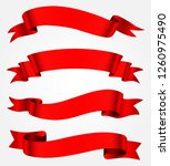 red ribbon banner set | Shutterstock .eps vector #1260975490