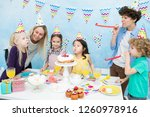content cute girls in colorful... | Shutterstock . vector #1260978916