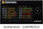 black electronic airport board...   Shutterstock .eps vector #1260982513