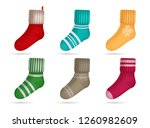 winter knitted bright colored...   Shutterstock .eps vector #1260982609