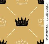 crown seamless pattern  hand... | Shutterstock .eps vector #1260998560