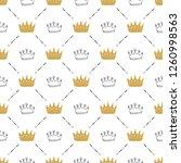 crown seamless pattern  hand... | Shutterstock .eps vector #1260998563