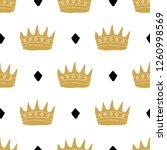 crown seamless pattern  hand... | Shutterstock .eps vector #1260998569