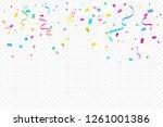 colorful confetti and ribbon... | Shutterstock .eps vector #1261001386