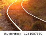 the rails turn  the rails and...   Shutterstock . vector #1261007980