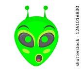 alien face emoji. alien green...   Shutterstock .eps vector #1261016830