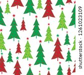 seamless christmas tree with... | Shutterstock .eps vector #1261023109