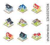 here comes a pack of houses... | Shutterstock .eps vector #1261025236