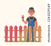 cute character. man painting... | Shutterstock .eps vector #1261029169