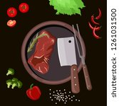 roasted beef isolated vector.... | Shutterstock .eps vector #1261031500
