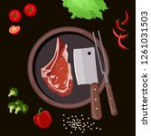roasted beef isolated vector.... | Shutterstock .eps vector #1261031503