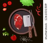 roasted beef isolated vector.... | Shutterstock .eps vector #1261031509