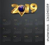 2019 calendar template. turks... | Shutterstock .eps vector #1261040359