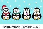 penguins in a hat  glasses ... | Shutterstock .eps vector #1261042663