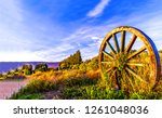 wagon wheel in field evening... | Shutterstock . vector #1261048036