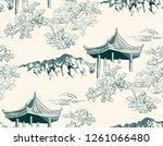 mountain flower blossom arbor... | Shutterstock .eps vector #1261066480