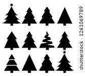 merry chrismas tree icon set on ... | Shutterstock .eps vector #1261069789