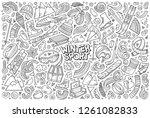line art vector hand drawn... | Shutterstock .eps vector #1261082833