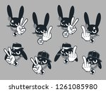Stock vector eight characters rabbits hooligans 1261085980