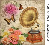 vintage rose postcard with... | Shutterstock .eps vector #1261091059