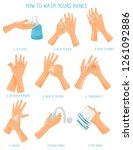washing hands step by step... | Shutterstock .eps vector #1261092886