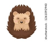 cute lovely hedgehog prickly...   Shutterstock .eps vector #1261092940