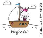 rabbit girl on a sailing ship....   Shutterstock .eps vector #1261100563