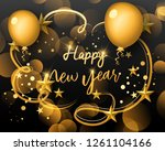happy new year 2019 text design.... | Shutterstock .eps vector #1261104166