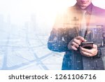 the double exposure image of... | Shutterstock . vector #1261106716