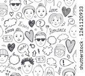 vector faces seamless pattern.... | Shutterstock .eps vector #1261120933