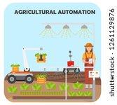 smart farm flat background.... | Shutterstock .eps vector #1261129876