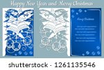 pattern  branch with snowflakes ... | Shutterstock .eps vector #1261135546