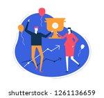 business success   flat design... | Shutterstock .eps vector #1261136659