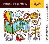 travel doodles icon. vector... | Shutterstock .eps vector #1261138366