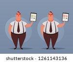cute office worker holding... | Shutterstock .eps vector #1261143136