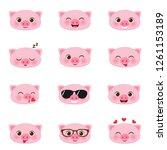 set of cute happy cartoon... | Shutterstock .eps vector #1261153189