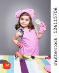 Little Cute Girl With Chef...