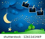 surreal night with hanging moon ... | Shutterstock .eps vector #1261161469