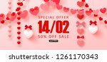 valentine's day sale background.... | Shutterstock .eps vector #1261170343