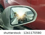 side view of car mirror traffic ... | Shutterstock . vector #1261170580