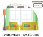 image living room at home. cozy ... | Shutterstock .eps vector #1261178389