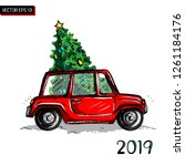 christmas little retro card.... | Shutterstock .eps vector #1261184176
