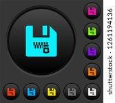 zipped file dark push buttons...   Shutterstock .eps vector #1261194136