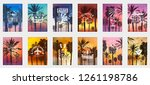 a set of 12 options for posters ... | Shutterstock .eps vector #1261198786