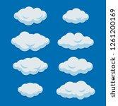 cartoon clouds set on blue sky... | Shutterstock .eps vector #1261200169