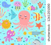 sea creatures seamless pattern. ... | Shutterstock .eps vector #1261201000