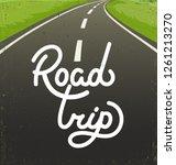 road trip flat hand drawn... | Shutterstock .eps vector #1261213270